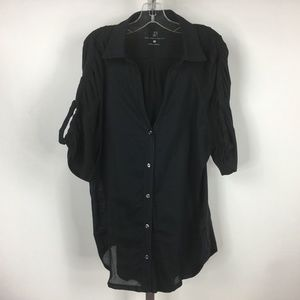 New York & Company Women Size L Black Cotton Top